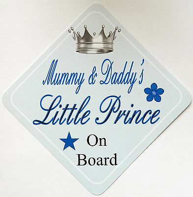 Handmade Mummy & Daddy's Little Prince Baby on Board Car Sign ~ Blue