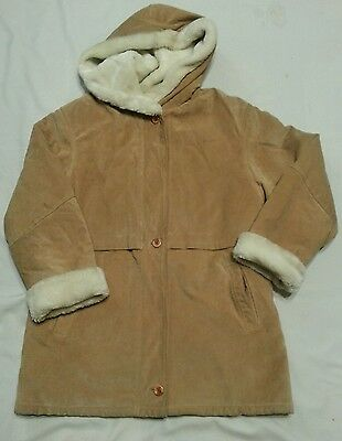 Wilson's Leather Suede Tan Hooded Jacket Coat Large