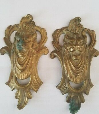 Brass Furniture Victorian French Antique Hardware Urn Lion heads set of two