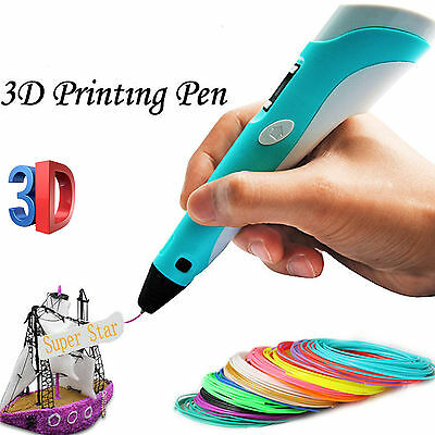 3D Printing Pen Stereoscopic Drawing Arts Crafts + 3 Free Filaments AU STOCK