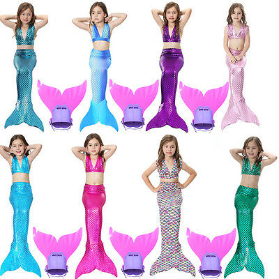 Kids Girls Fin Fairy Mermaid Tail Monofin Swimmable Swimming Swim Costume Bikini