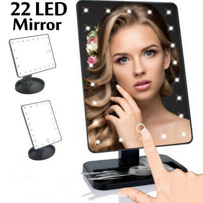 Portable 22 LED Touch Screen Makeup Mirror Tabletop Cosmetic Light Up Mirror