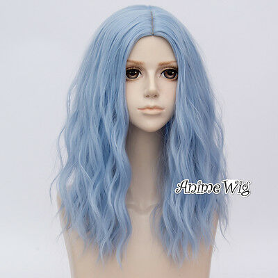 Lolita Girl Fashion 50cm Long Curly Sky Blue Heat Resistant Cosplay Wig+Cap