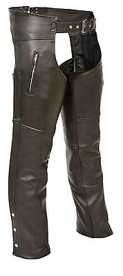Unisex Genuine Leather Motorcycle Chaps for Bikers- Black Large size