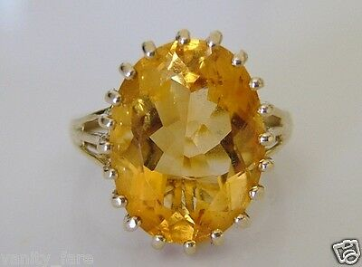 Beautiful 9ct Gold Citrine Solitaire Cocktail Ring Size P