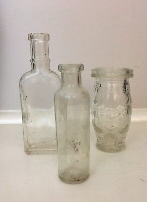 Group Lot 3 Sml Vintage Clear Glass Bottles. Brand Embossed. Collectable Bottles