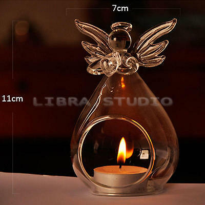 Romantic Wedding Party Candle Holder Glass Angle Clear Hanging Candlestick Top