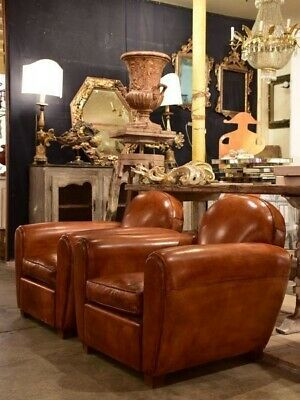 Pair of artisan French club chairs - French leather club chair
