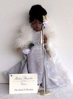 """1998 Madame Alexander 10"""" *Billie Holiday* with Microphone & Stand"""