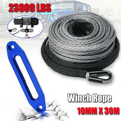 100Ft 30M 10mm Synthetic Winch Rope Hawse With Hook Self Recovery 4x4 10500KG