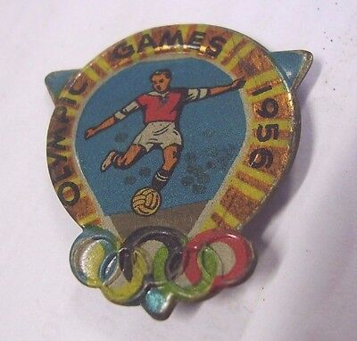 Vintage Olympic Games Melbourne 1956 Badge Pin Soccer, Complete With Pin
