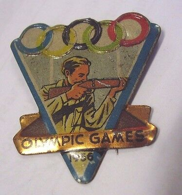 Vintage Olympic Games Melbourne 1956 Badge Pin Shooting, Complete With Pin