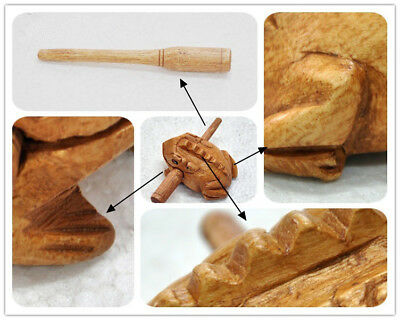 Thai Wooden Croaking Frog Instrument Musical Sound Handcraft with Stick