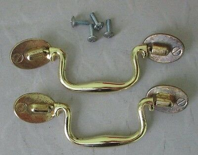 2 Vintage Metal Drawer Pulls Cabinet Dresser Door Handles w Screws USA made