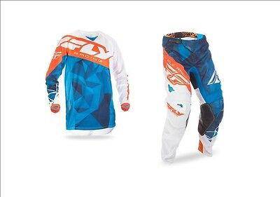 Fly Racing Adult Mens Kinetic Mesh Crux Blue White Orange Jersey + Pants Combo