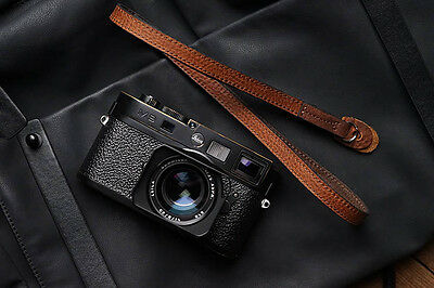 Handmade Brown Leather Neck Shoulder Thin Belt Strap Sling for Leica Sony Fuji