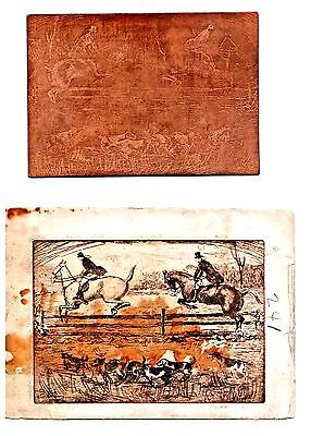 Rare Antique Copper Etching Print Plate of Jockeys and Dogs