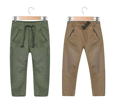 Boys Stone Khaki Green Pull On Chinos Trousers Party Trousers Everyday Trousers