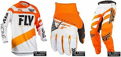 Fly Racing F-16 NEW 2018 Racing Gear Jersey Pants Glove Orange and White Adult