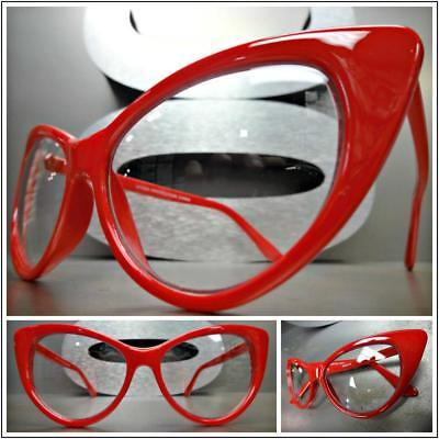 CLASSIC VINTAGE RETRO 60s CAT EYE Style Clear Lens EYE GLASSES Red Fashion Frame