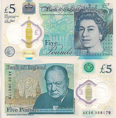 ENGLAND 5 Pounds Banknote World Paper Money UNC Currency Polymer 2016 Churchill