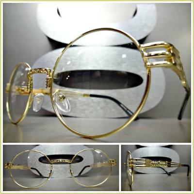 04ea32f122 Mens or Women CLASSIC VINTAGE RETRO Style Clear Lens EYE GLASSES Oval Gold  Frame
