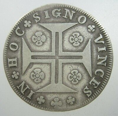 Portugal 200 Reis 1780 Silver #k Scarce Maltese Cross Crown Coin