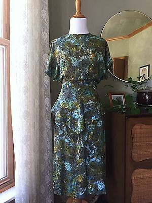 40s Dress Novelty Print 1940s Silk Vintage Peplum Abstract Butterflies Fitted