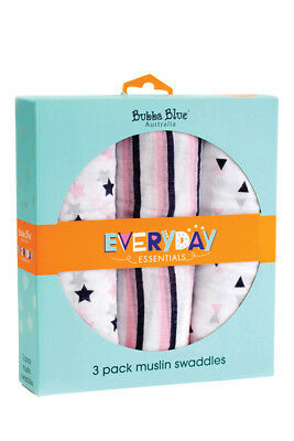 NEW Bubba Blue Everyday Essentials Muslin Swaddles - Pink 3PK