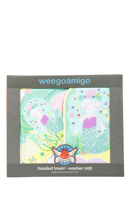 NEW Weegoamigo Mermaid Waters Mitt Washer with Hooded Towel Assorted