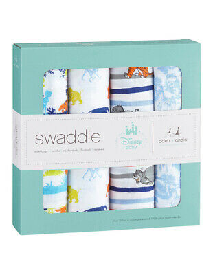 NEW Aden & Anais Disney The Jungle Book Swaddles 4PK Assorted