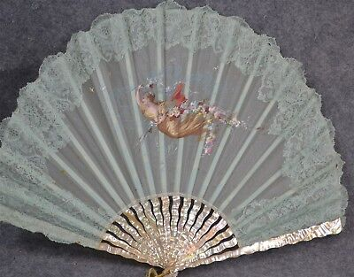 hand fan MOP ribs mother pearl  hand painted fabric romantic  Victorian vintage