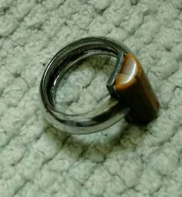 Vintage Tiger Eye Ring with Silver Tone Band