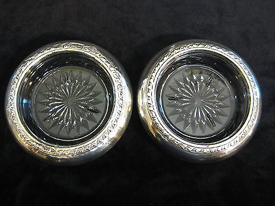 Vintage Pair of Sterling Silver And Crystal Coasters