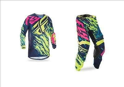 Fly Racing Kids Youth Kinetic Mesh Relapse Hi-Vis Pink Blue Jersey + Pants Combo