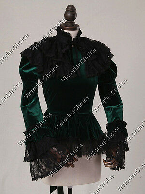 Victorian Gothic Dark Steampunk Blouse Shirt Ghost Witch Halloween Costume C034