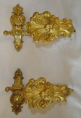 Antique French Pair Gilt Ormolu Curtain Hold Tie Back Hooks Stamped