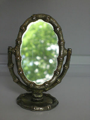 Antique Victorian Gilt Metal Bamboo Sewing Pin Cushion Swing Mirror
