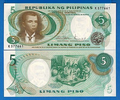 Philippines  P-143b 5 Piso Year ND 1969 Uncirculated Banknote