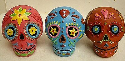 "Lot of 3 Day of the Dead Sugar Skulls - blue, pink,orange - Miniature 3"" x 3"""