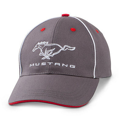 Ford Mustang Gray, Red and White Hat