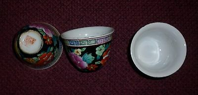 Group Vintage Chinese Porcelain Famille Noir Motif Bowls Excellent Condition