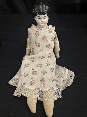 "Antique Vintage German China Head Doll Leather Kid Body 12"" Germany Sawdust Fill"