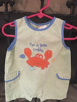 Baby Boy's Size 6-9 Months Wishes and Kisses Romper Crabby