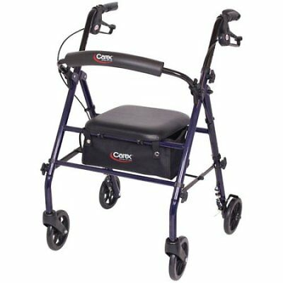 Carex Steel Rolling Walker Rollator with Padded Seat and  W