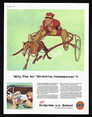 1955 Horse Racing Trotter Horse Gulf Pride Oil Gulf Vintage Print Ad