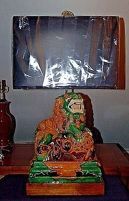 CHINESE Sancai Pottery KYLIN Lamp Famille Rose Verte Porcelain Pottery Foo Dog