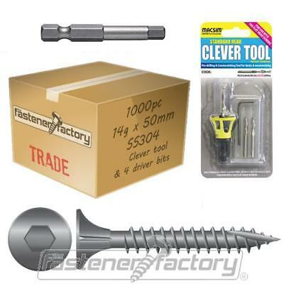 1000pc 14g x 50mm 304 Stainless Timber Decking Screw Clevertool Bundle Pack Deck