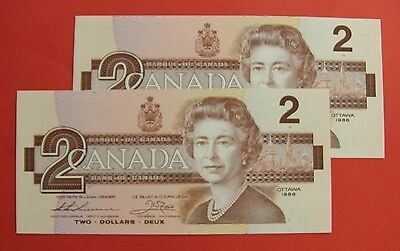 1986 $2 Bank of Canada Thiessen Crow 2 Consec. BBX Replacement - Ch UNC 29.95
