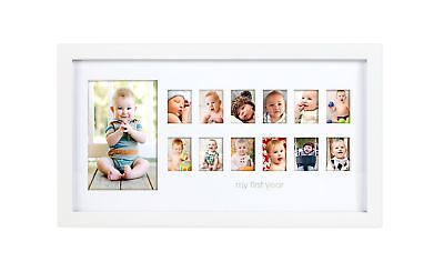 Pearhead My First Year Photo Moments Baby Keepsake Frame White NO TAX